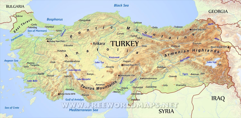 Turcja Mapa Geograficzna Turcji Mapa Geograficzna Azja Zachodnia