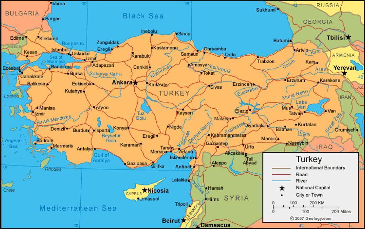 Turcja Mapa Miasta Mapa Miasta Turcji Azja Zachodnia Azja